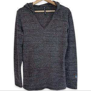Kuhl V Neck Grey Space Dye Hooded Sweater